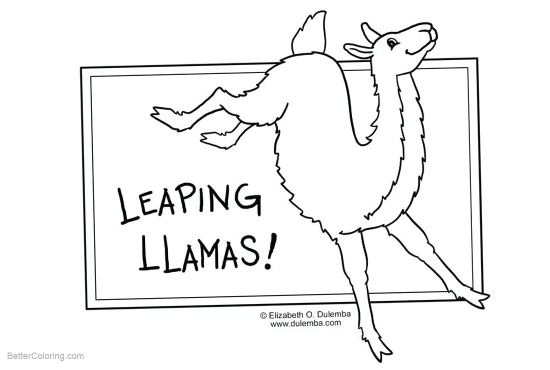 Free Llama Coloring Pages Leaping Lineart printable