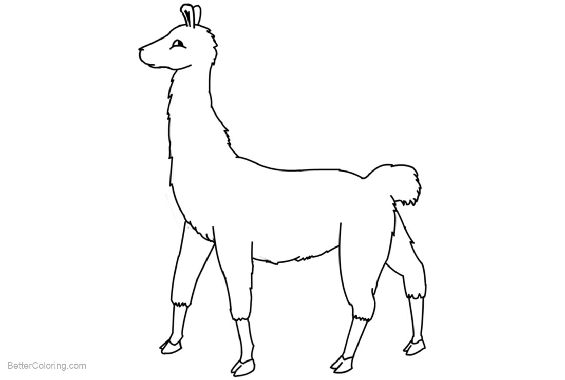 Free Llama Coloring Pages Line Art by RedTedArt printable