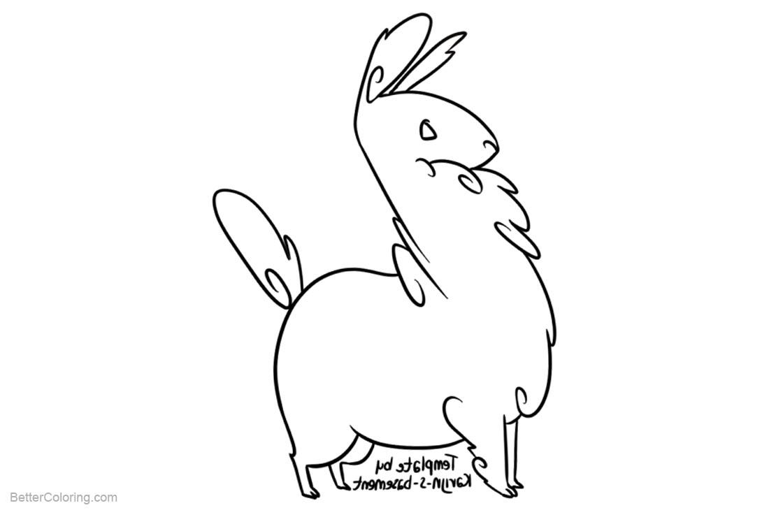 Free Llama Coloring Pages Line Drawing by Karijn s Basement printable