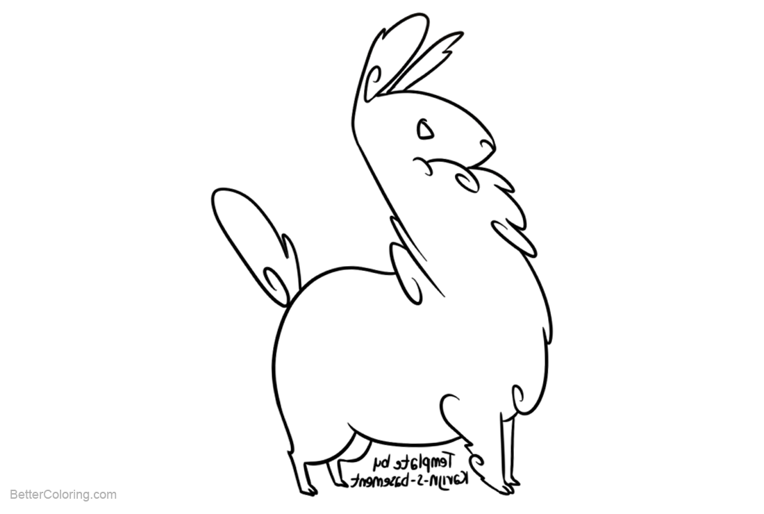 Free Llama Coloring Pages Line Drawing by Karijn s Basement printable
