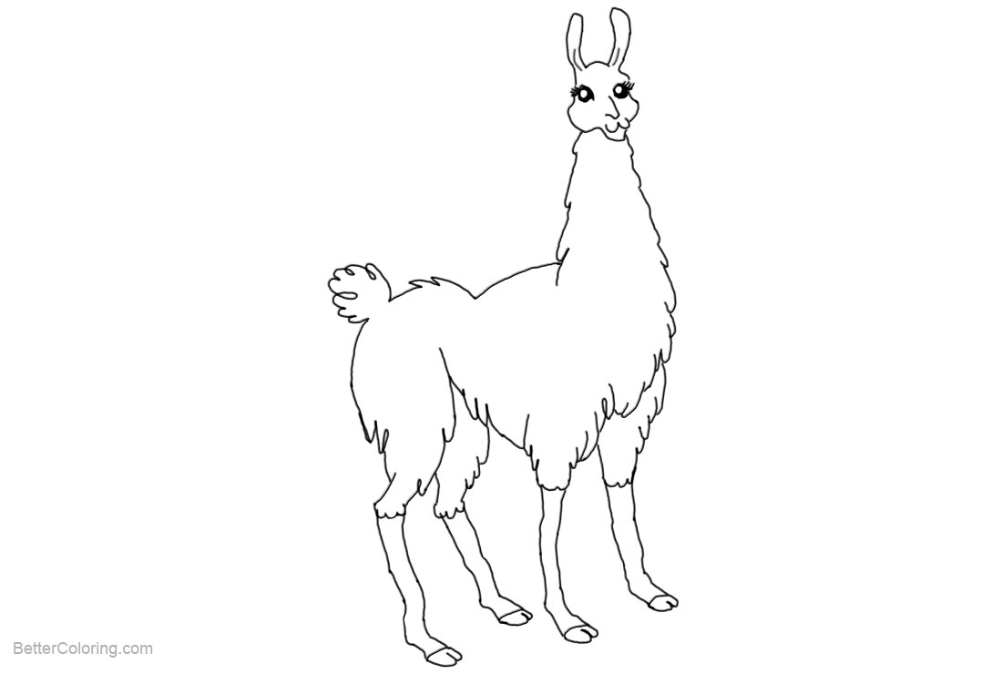 Free Llama Coloring Pages Lineart by carpenoctem09 printable