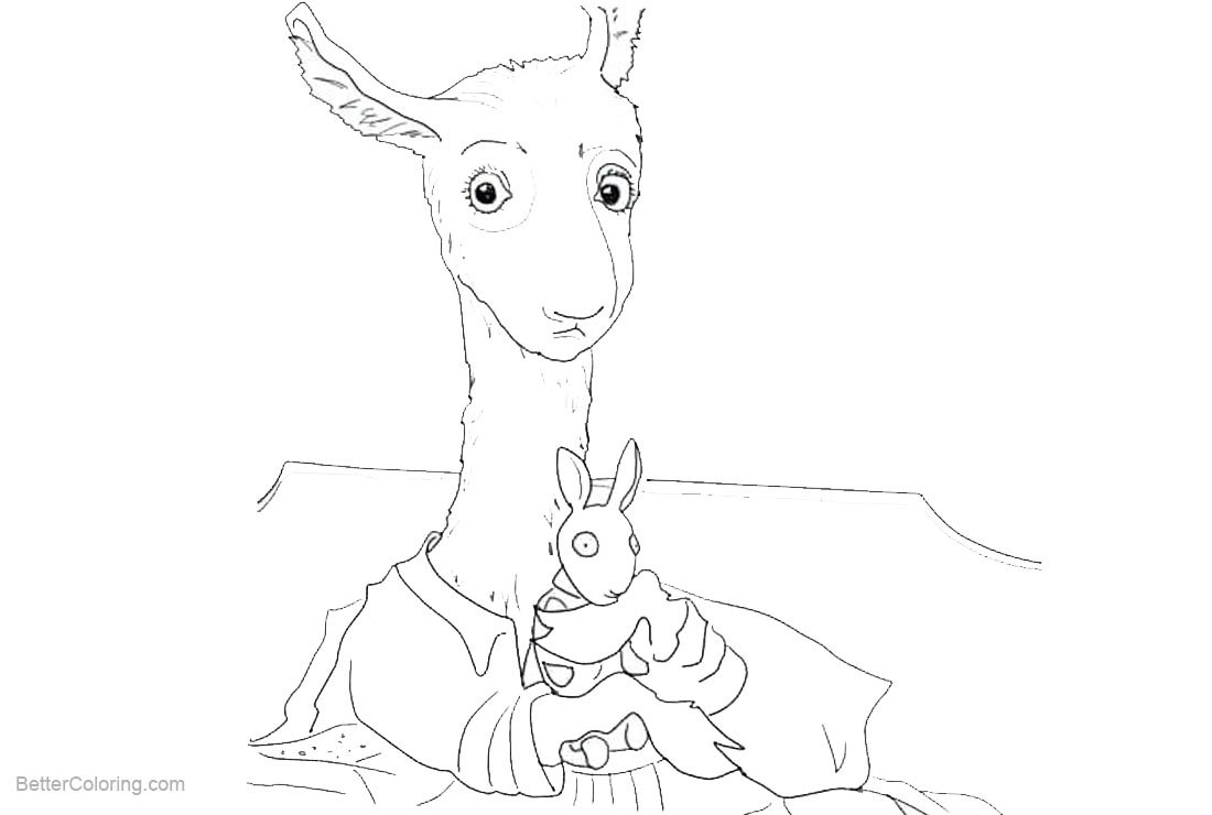 Free Llama Coloring Pages Mom and Chibi Llama printable