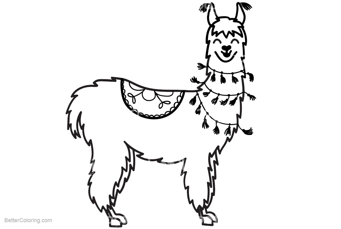 Llama Coloring Pages Smiling - Free Printable Coloring Pages