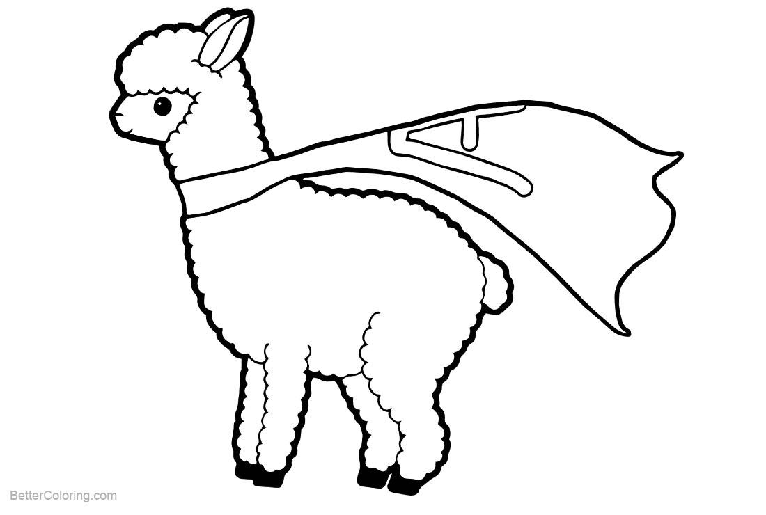 Free Llama Coloring Pages Super Hero LLama printable