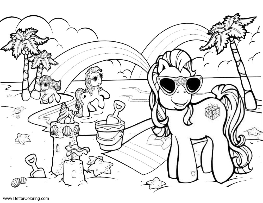 Free MLP Summer Fun Coloring Pages My Little Pony Play Sand printable