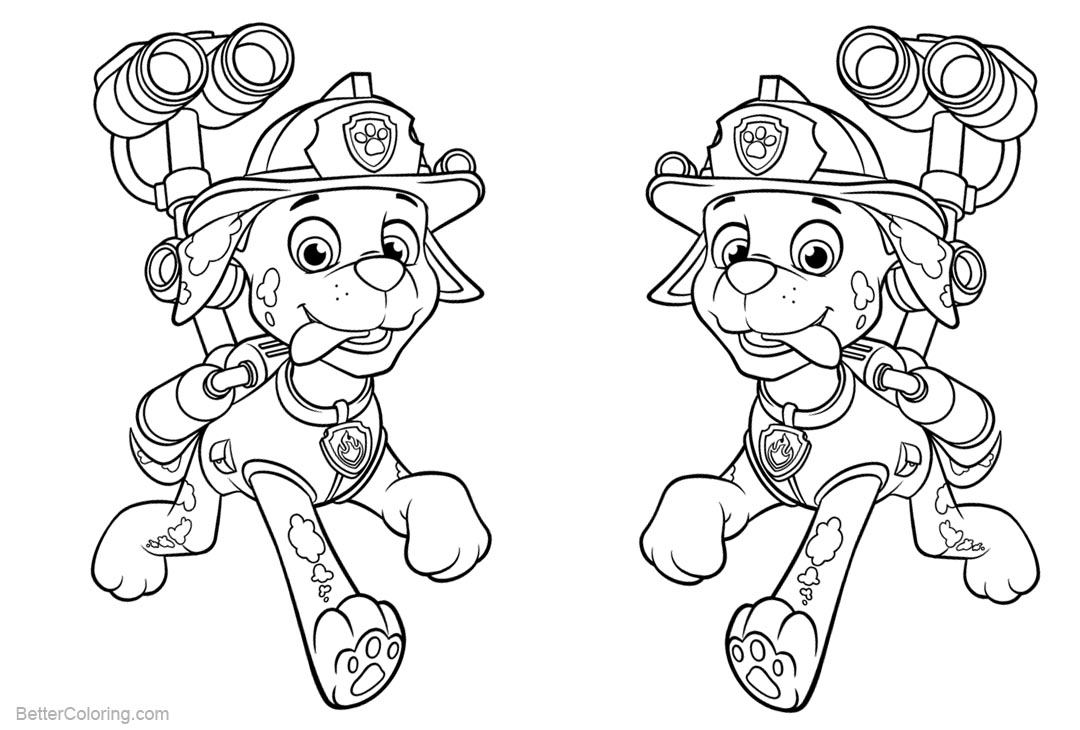 Marshall from PAW Patrol Coloring Pages With Water Cannon ...
