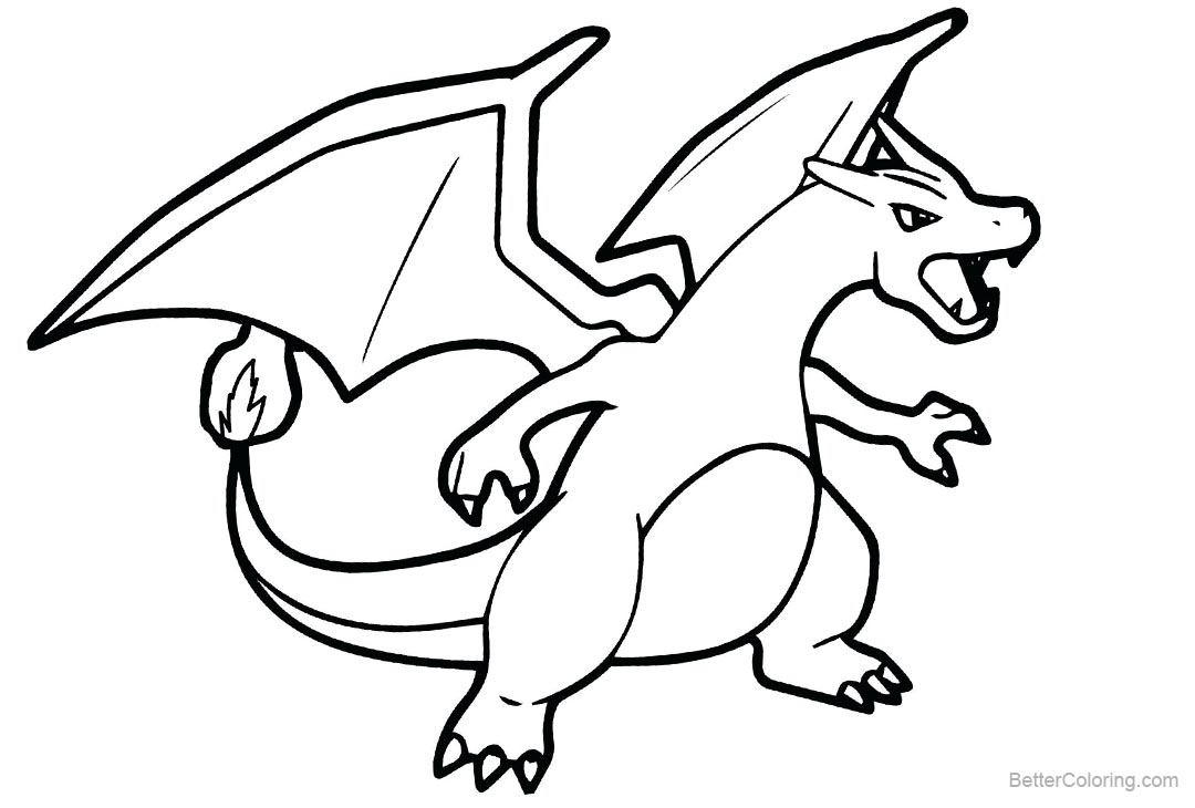 Free Mega Charizard X Pokemon Coloring Page printable