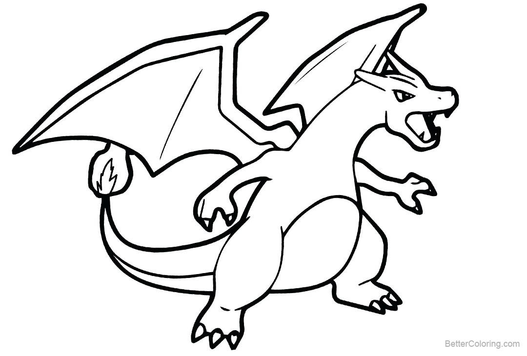 Mega Charizard X Pokemon Coloring Page Free Printable