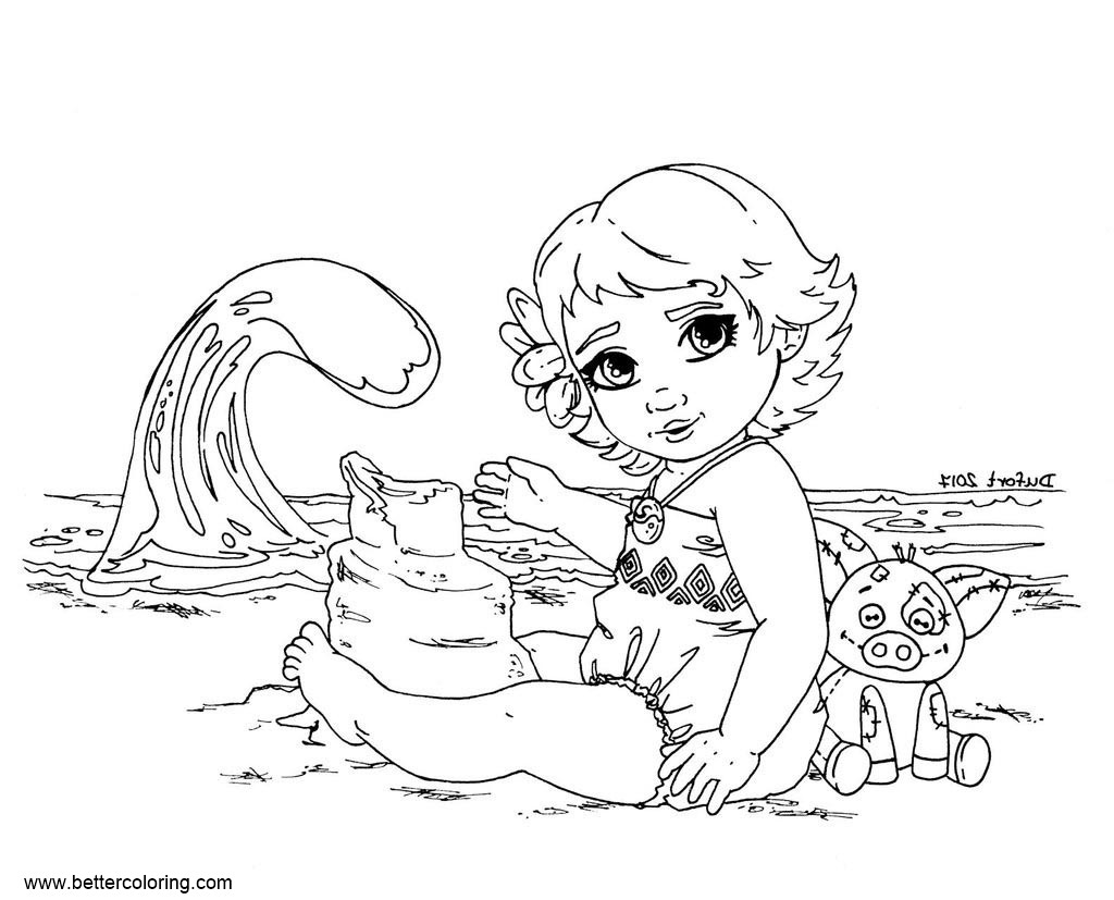 Free Moana Coloring Pages Lineart by JadeDragonne printable