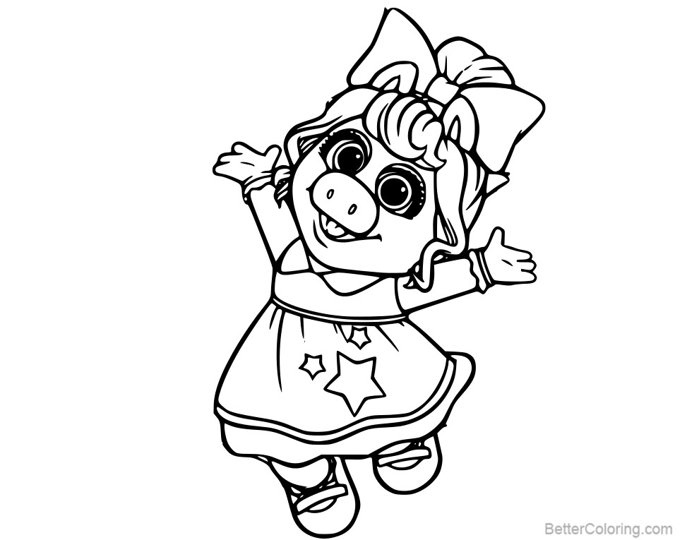 free muppet babies baby miss piggy coloring pages printable for kids and adults