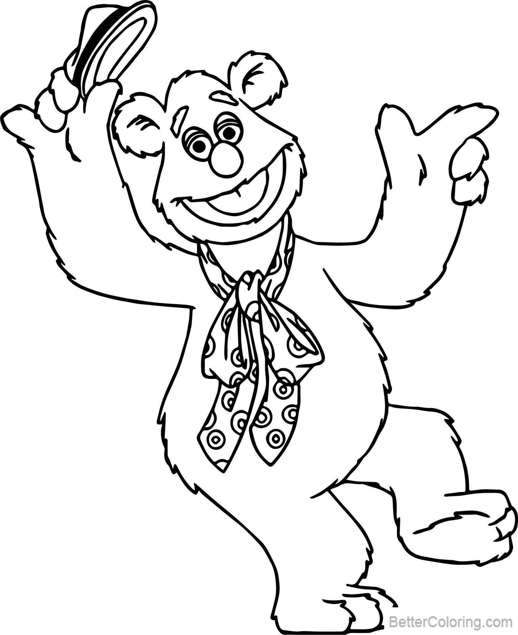 Muppet Babies Coloring Pages Bear with Hat - Free Printable Coloring ...