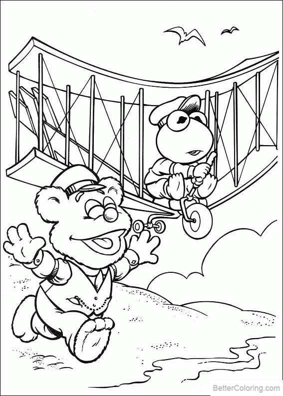 Free Muppet Babies Coloring Pages Flying printable