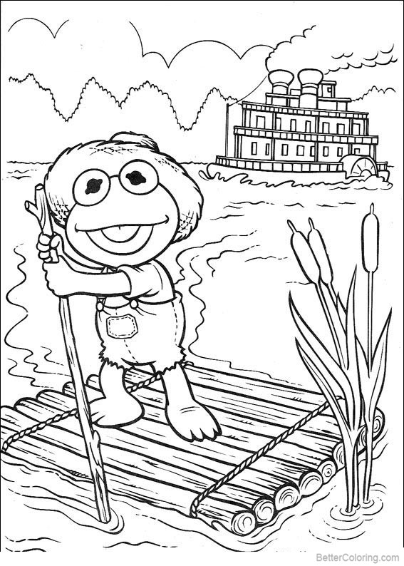 Muppet Babies Coloring Pages Frog on the Raft - Free ...