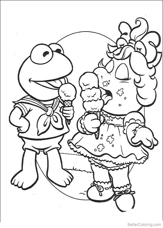 Free Muppet Babies Mrs Piggy Coloring Pages Ice Cream printable