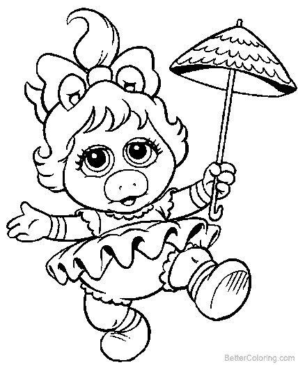 Free Muppet Babies Mrs Piggy Coloring Pages printable