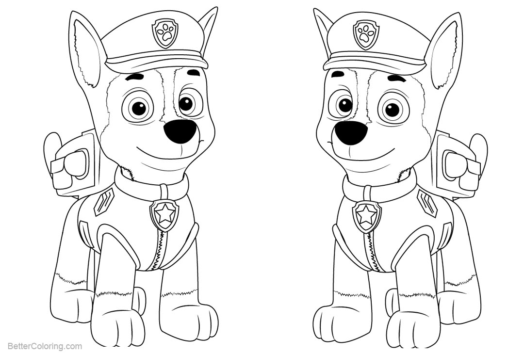 Free PAW Patrol Coloring Pages Chase printable
