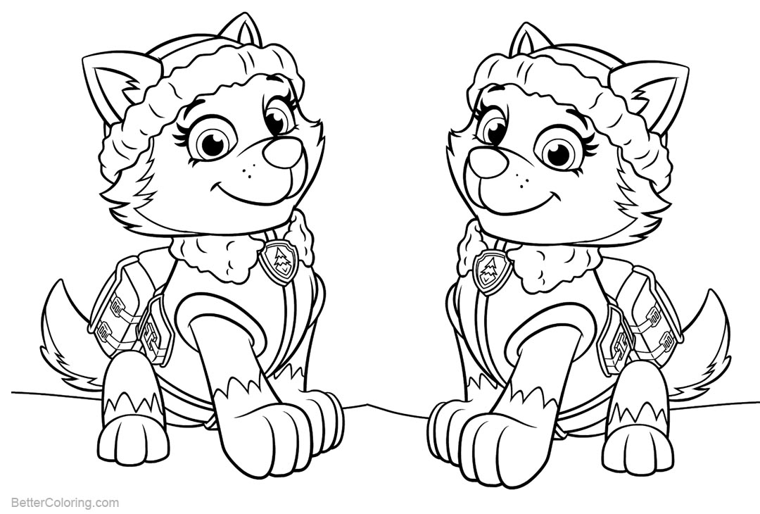 Free PAW Patrol Coloring Pages Everest printable