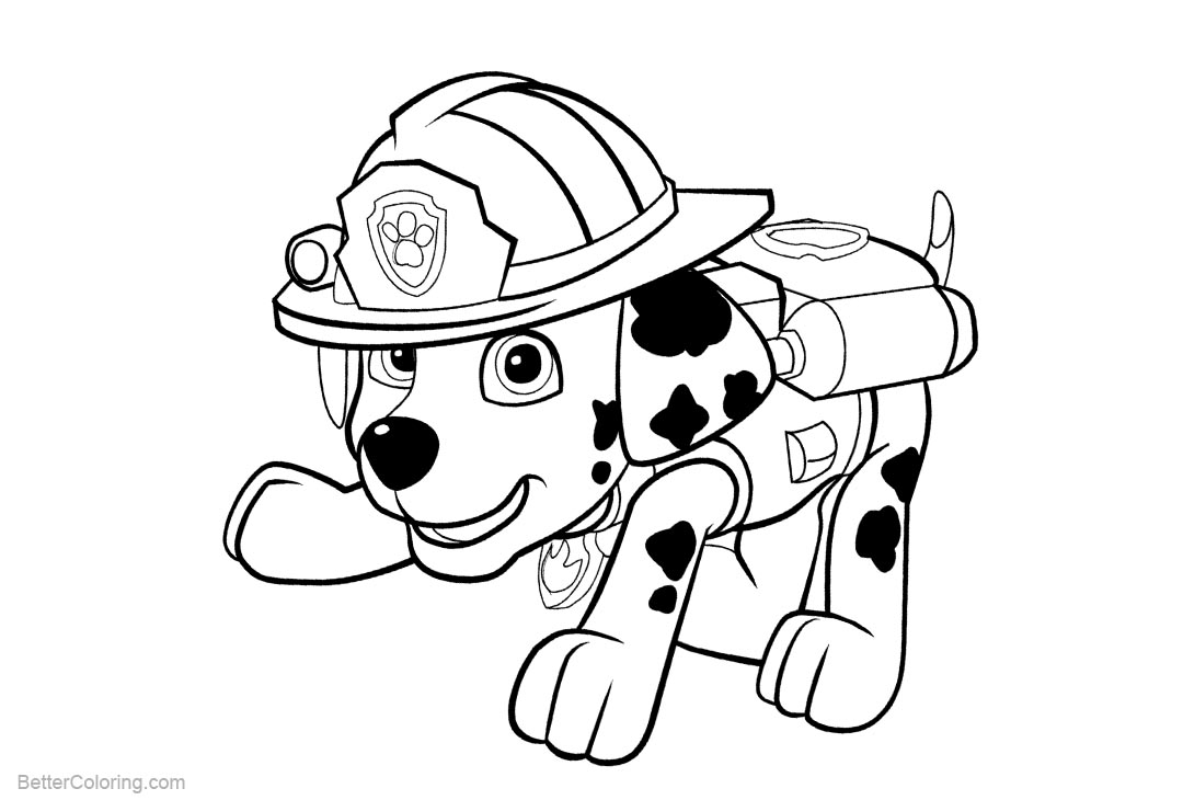 Free PAW Patrol Coloring Pages Marshall printable