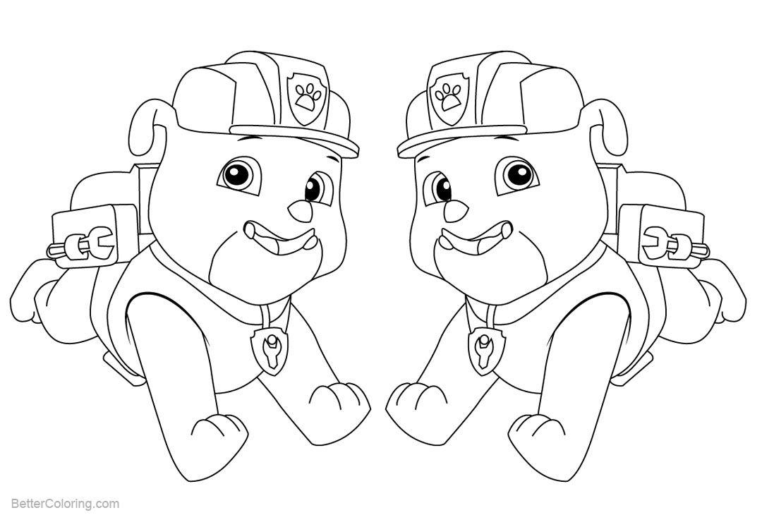 PAW Patrol Coloring Pages Rubble - Free Printable Coloring ...