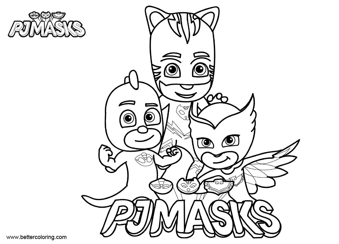 photo about Pj Masks Printable Coloring Pages named PJ Mask Figures Coloring Web pages Clipart Black and White