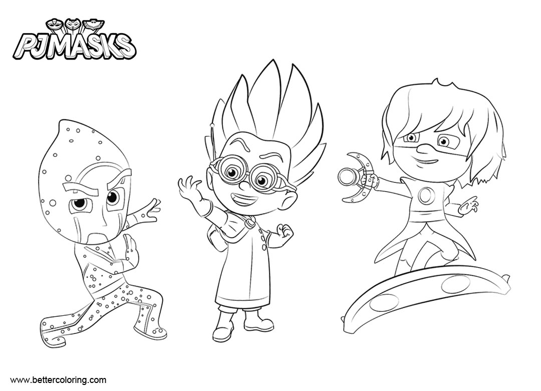 Free PJ Masks Coloring Pages Luna Girl Romeo and Night Ninja printable