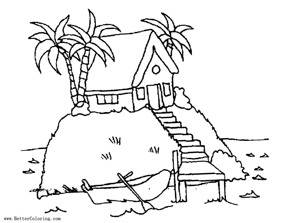 Free Palm Tree Coloring Pages House on Island printable
