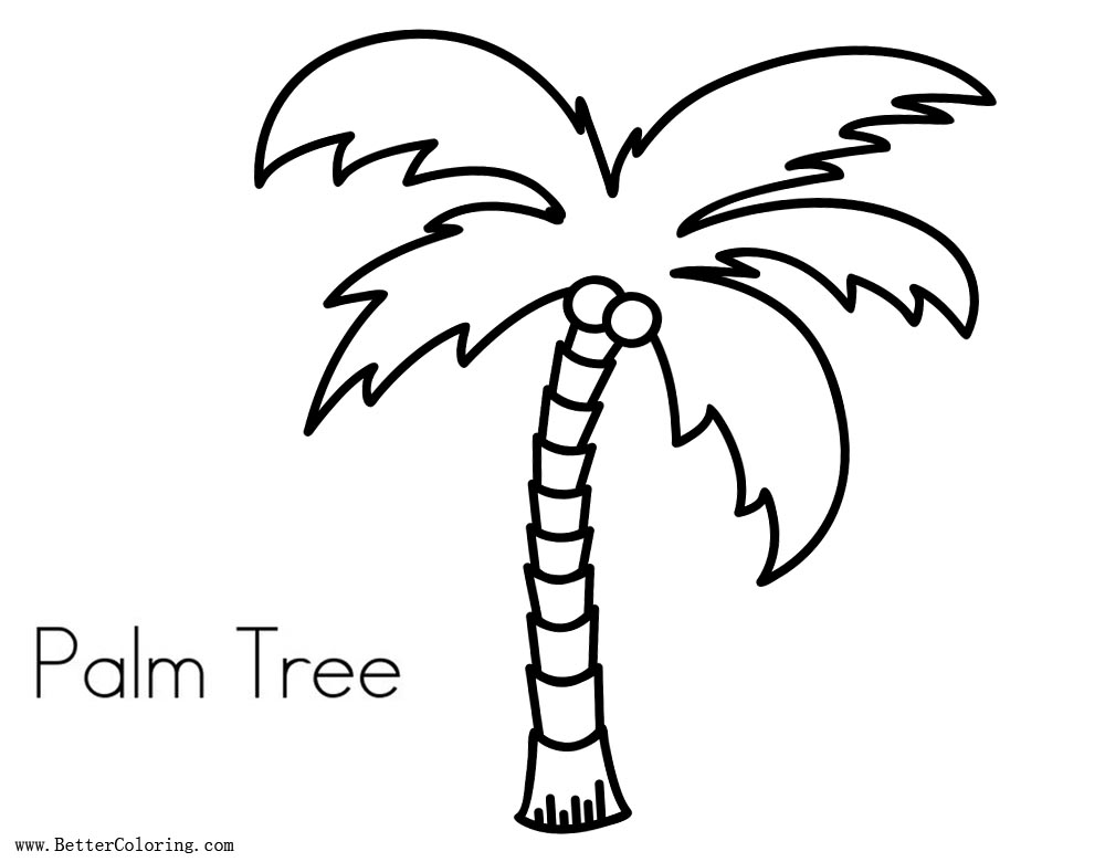 Palmboom Kleurplaat Palm Tree Coloring Pages Lineart Free Printable Coloring