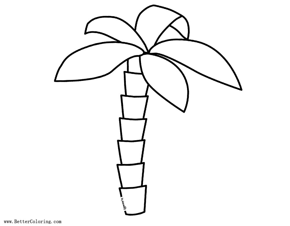 Palm Tree Coloring Pages Simple