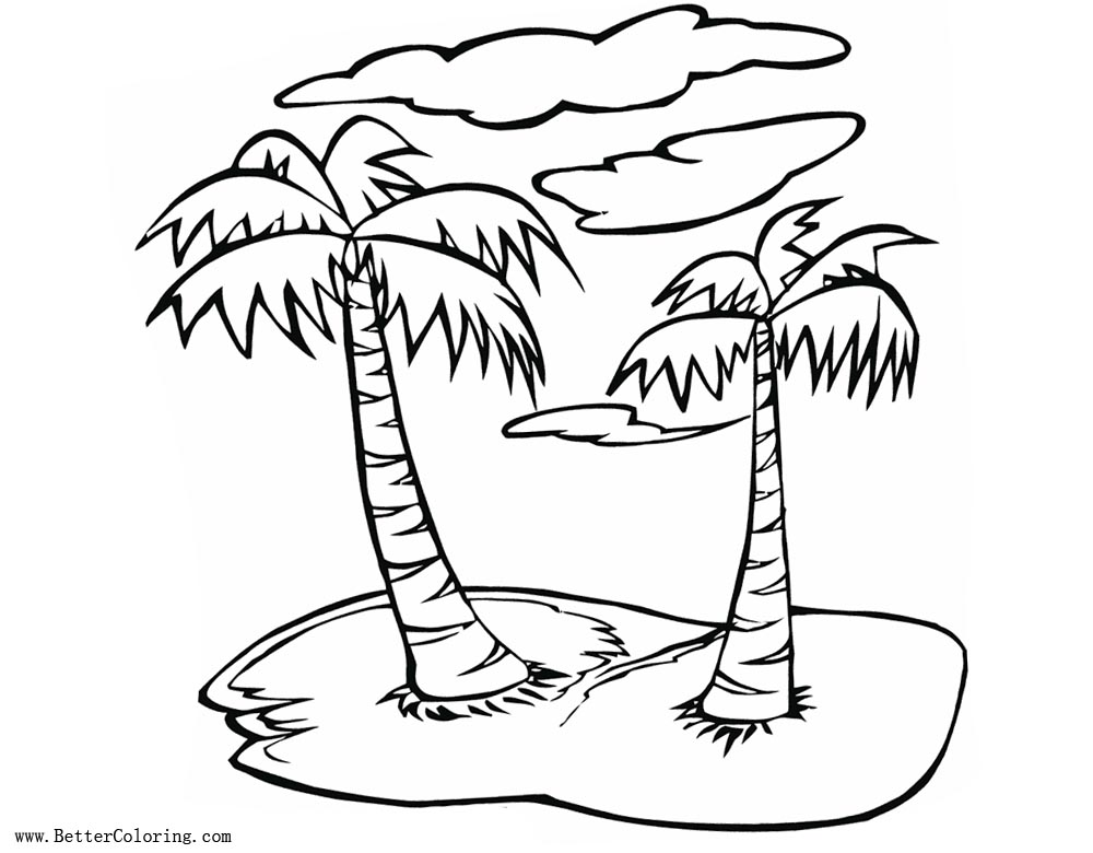 palm tree coloring pages summer beach free printable
