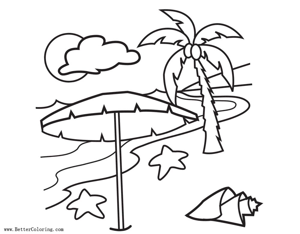 Palm Tree Coloring Pages With Clouds And Seashell Free Printable - Palm-tree-coloring-page