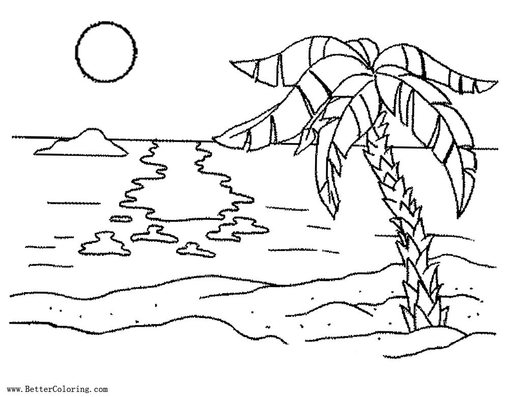 Palm Tree Coloring Pages with Sunset
