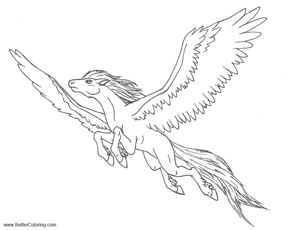 Free Pegasus  Flying Alicorn Coloring Pages by Ninetales4Ever printable