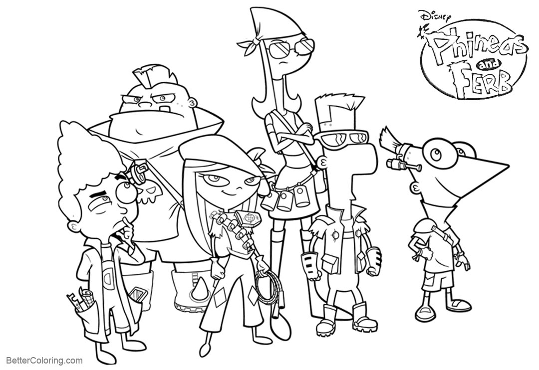 Free Phineas and Ferb Coloring Pages Characters printable
