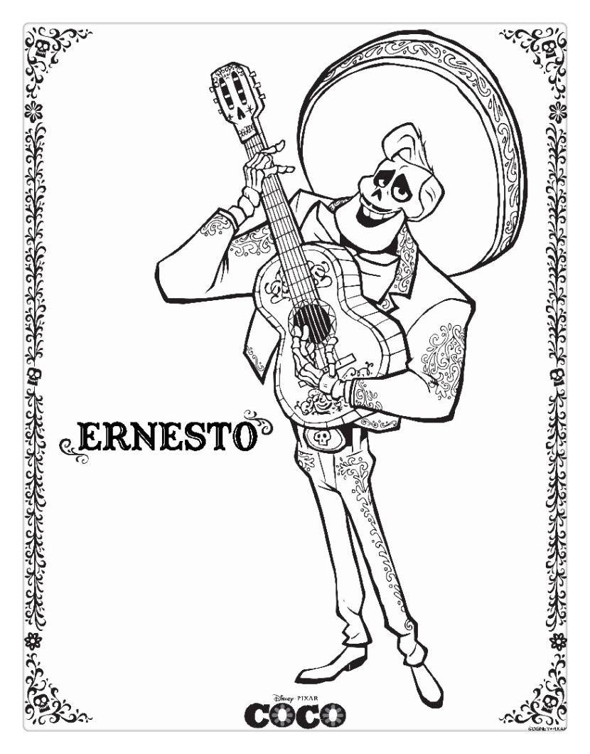 Free Pixar Coco Coloring Pages printable