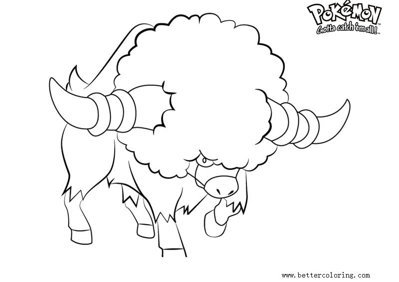 Free Pokemon Coloring Pages Bouffalant printable