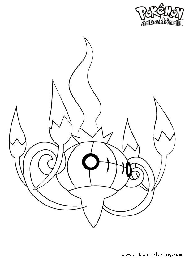 Free Pokemon Coloring Pages Chandelure printable