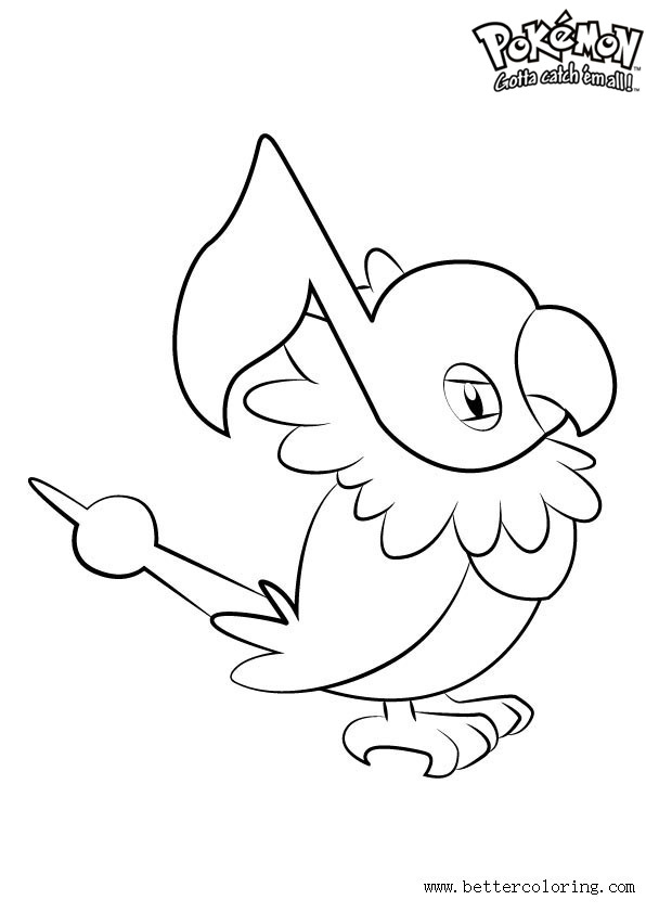 Free Pokemon Coloring Pages Chatot printable