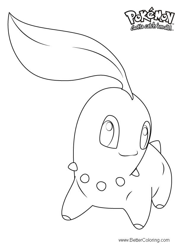 Free Pokemon Coloring Pages Chikorita printable
