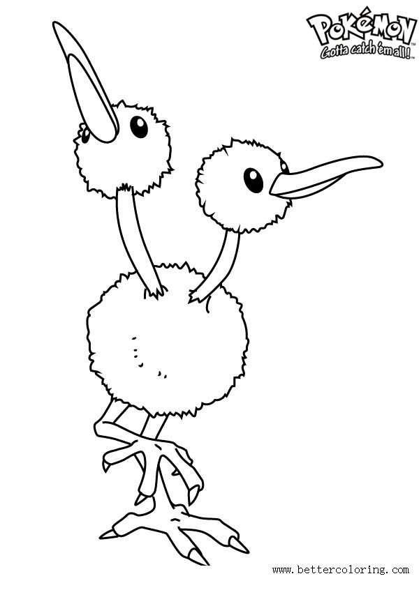 Free Pokemon Coloring Pages Doduo printable
