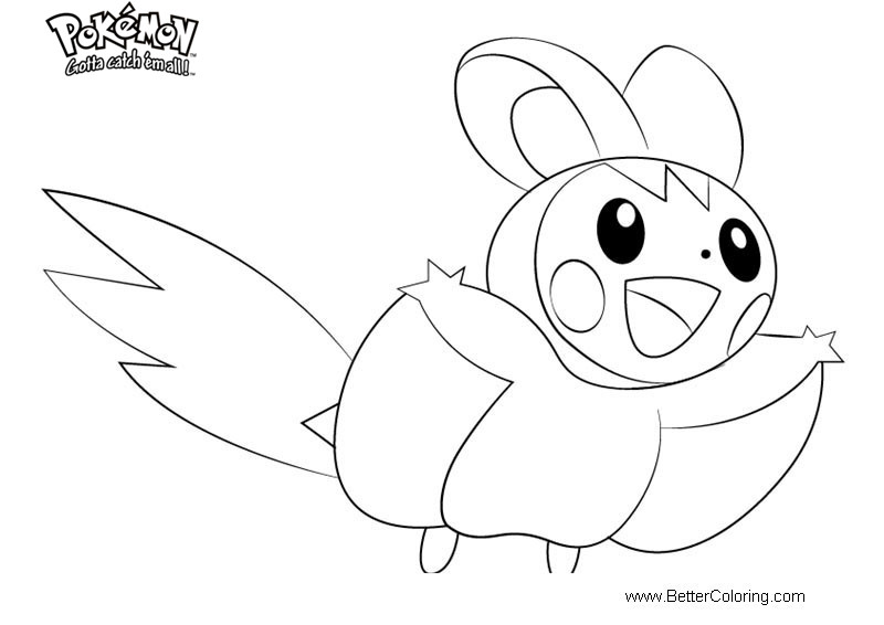 Free Pokemon Coloring Pages Emolga printable