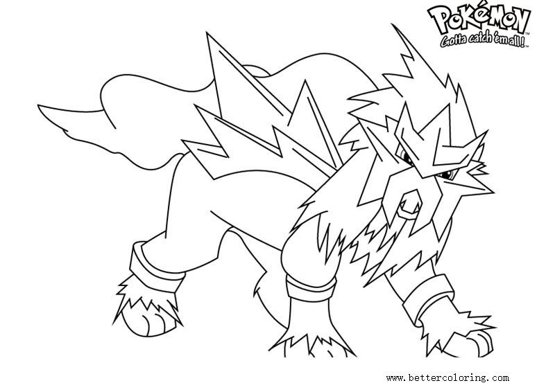 Free Pokemon Coloring Pages Entei Printable For Kids And Adults.