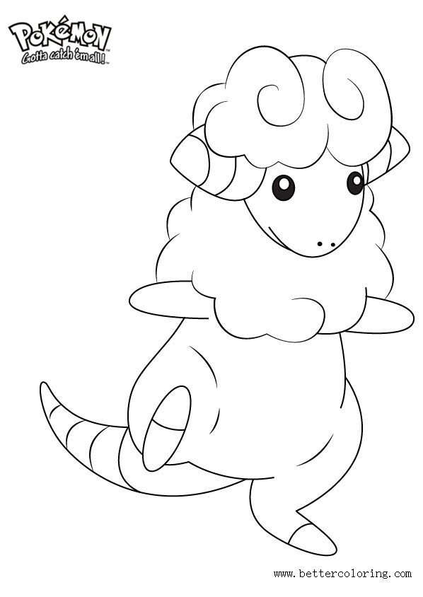 Free Pokemon Coloring Pages Flaaffy printable