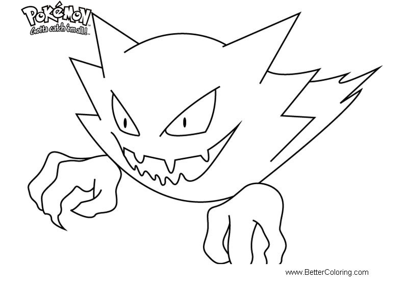 Free Pokemon Coloring Pages Haunter printable