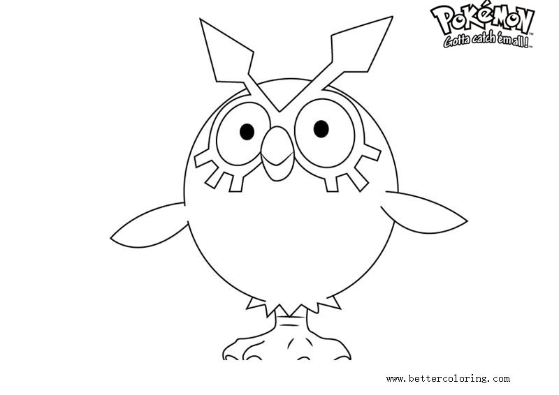 Free Pokemon Coloring Pages Hoothoot printable