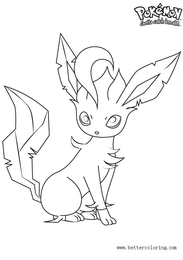 Pokemon Coloring Pages Leafeon - Free Printable Coloring Pages