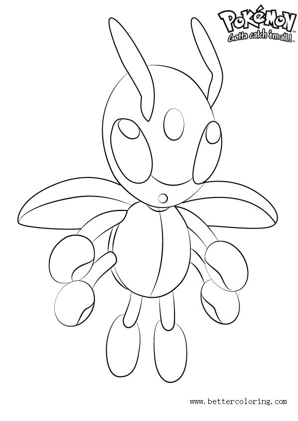 Free Pokemon Coloring Pages Ledian printable
