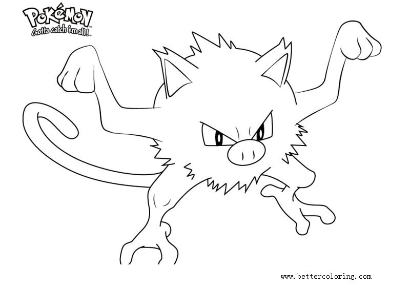 Free Pokemon Coloring Pages Mankey printable