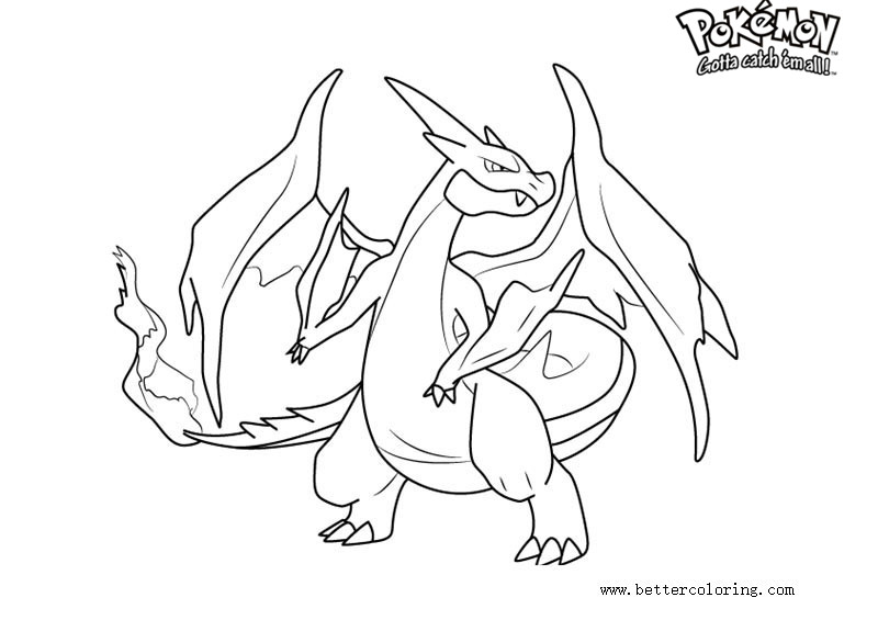 Pokemon Coloring Pages Mega Charizard Y