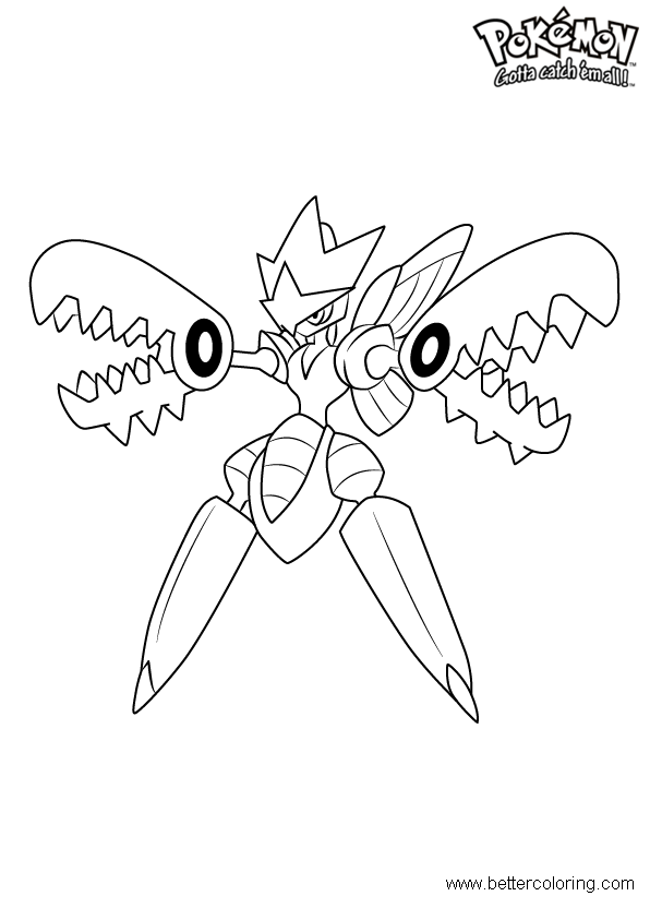 free pokemon coloring pages mega scizor printable for kids and adults