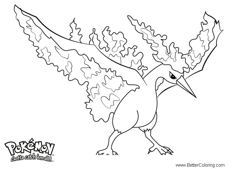 free pokemon coloring pages moltres printable for kids and adults